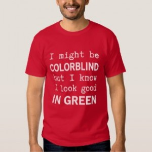 funny red green color blindness t-shirt red men's