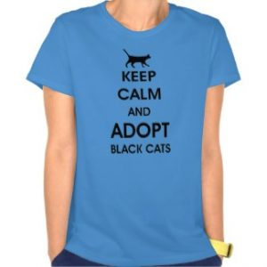 Keep Calm And Adopt Black Cats carolina blue women's tee shirt
